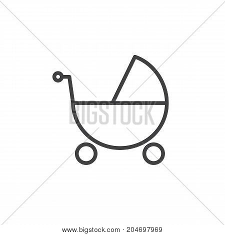 Baby stroller line icon, outline vector sign, linear style pictogram isolated on white. Symbol, logo illustration. Editable stroke