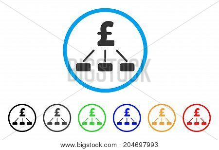 Pound Hierarchy rounded icon. Style is a flat pound hierarchy gray symbol inside light blue circle with black, gray, green, blue, red, orange color versions.
