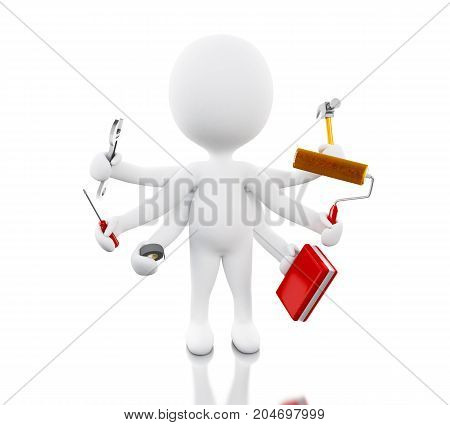 3D White People With Six Arms Holding Tools