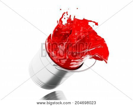 3d illustration. Red paint splashing out of can. Isolated white background