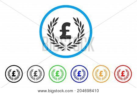 Pound Laurel Wreath rounded icon. Style is a flat pound laurel wreath gray symbol inside light blue circle with black, gray, green, blue, red, orange variants.