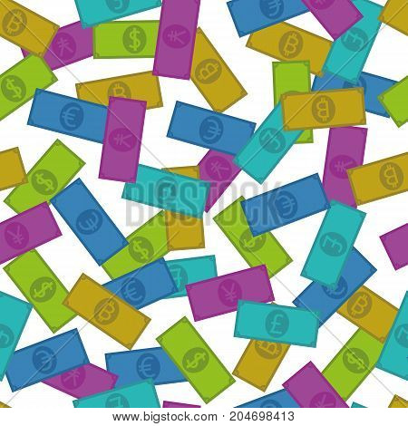 Five Different Currencies, Seamless Pattern