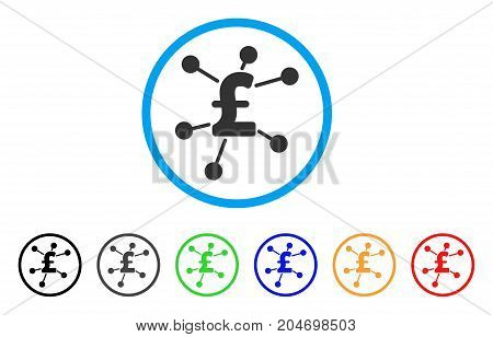 Pound Links rounded icon. Style is a flat pound links grey symbol inside light blue circle with black, gray, green, blue, red, orange color versions. Vector designed for web and software interfaces.