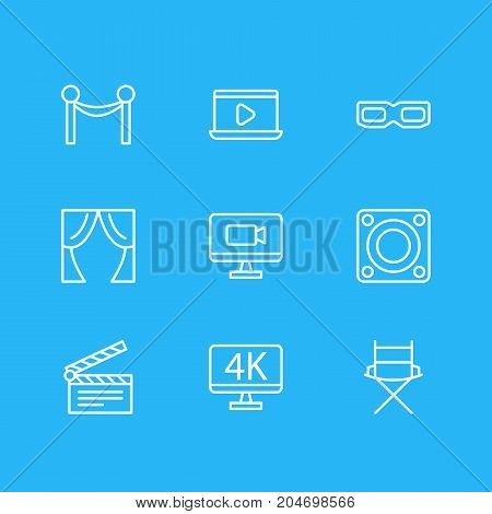 Editable Pack Of Theater, Cinema Fence, Resolution And Other Elements.  Vector Illustration Of 9 Movie Icons.