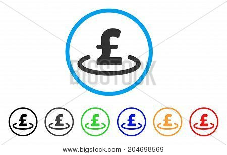 Pound Location rounded icon. Style is a flat pound location grey symbol inside light blue circle with black, gray, green, blue, red, orange color versions.