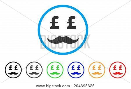 Pound Millionaire Mustache rounded icon. Style is a flat pound millionaire mustache gray symbol inside light blue circle with black, gray, green, blue, red, orange variants.