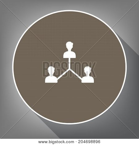 Social media marketing sign. Vector. White icon on brown circle with white contour and long shadow at gray background. Like top view on postament.