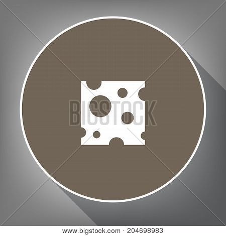 Cheese slice sign. Vector. White icon on brown circle with white contour and long shadow at gray background. Like top view on postament.