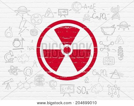 Science concept: Painted red Radiation icon on White Brick wall background with Scheme Of Hand Drawn Science Icons