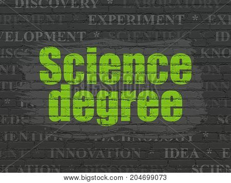 Science concept: Painted green text Science Degree on Black Brick wall background with  Tag Cloud