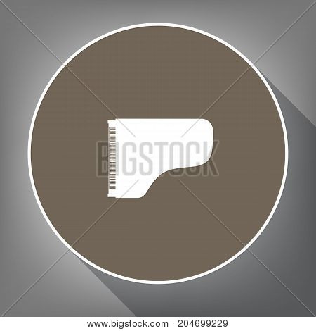 Concert grand piano sign. Vector. White icon on brown circle with white contour and long shadow at gray background. Like top view on postament.