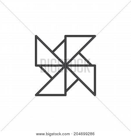 Pinwheel line icon, outline vector sign, linear style pictogram isolated on white. Symbol, logo illustration. Editable stroke