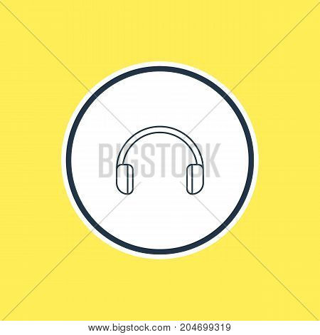 Beautiful Computer Element Also Can Be Used As Headsets Element.  Vector Illustration Of Headphones Outline.