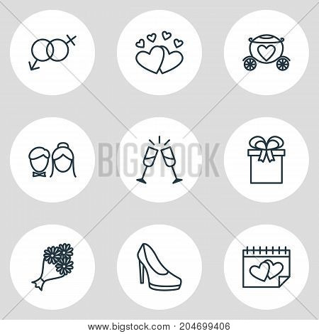 Editable Pack Of Wineglass, Chariot, Sandal Elements.  Vector Illustration Of 9 Engagement Icons.