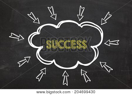 Cloud and arrow with text Success. Success information concept on blackboard background. Business Concept.