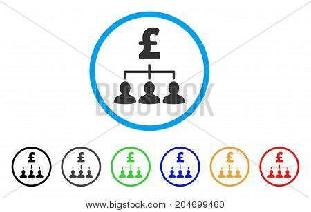 Pound Payment Relations rounded icon. Style is a flat pound payment relations gray symbol inside light blue circle with black, gray, green, blue, red, orange variants.
