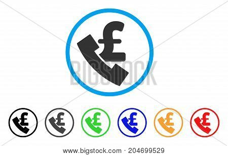 Pound Payphone rounded icon. Style is a flat pound payphone grey symbol inside light blue circle with black, gray, green, blue, red, orange color versions.