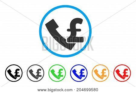 Pound Payphone rounded icon. Style is a flat pound payphone gray symbol inside light blue circle with black, gray, green, blue, red, orange variants. Vector designed for web and software interfaces.