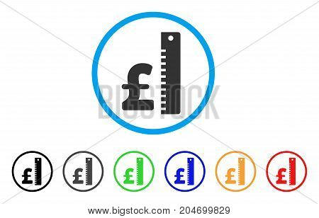 Pound Rate rounded icon. Style is a flat pound rate gray symbol inside light blue circle with black, gray, green, blue, red, orange versions. Vector designed for web and software interfaces.