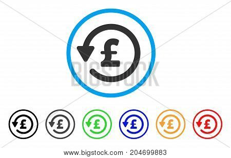 Pound Rebate rounded icon. Style is a flat pound rebate gray symbol inside light blue circle with black, gray, green, blue, red, orange variants. Vector designed for web and software interfaces.