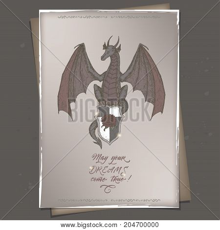 Romantic a4 format color vintage birthday card template with calligraphy and dragon sketch. Great for holiday design.