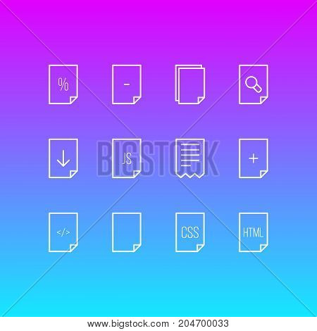 Editable Pack Of Code, Search, Munus And Other Elements.  Vector Illustration Of 12 Paper Icons.