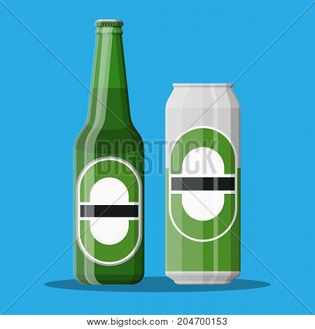 Bottle and can of beer. Beer alcohol drink. Vector illustration in flat style