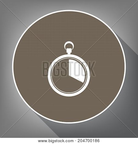 The 20 seconds, minutes stopwatch sign. Vector. White icon on brown circle with white contour and long shadow at gray background. Like top view on postament.