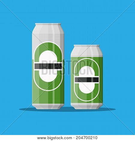 Can of beer in large and small size. Beer alcohol drink. Vector illustration in flat style