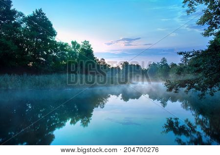 Morning fog on a calm river, Seversky Donets river, Ukraine