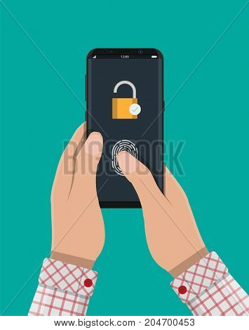 Locked smartphone with padlock and fingerprint button. Security, access via finger on mobile phone, user authorization, recognition of owner, login, protection. Vector illustration in flat style