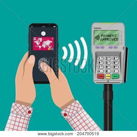 Pos terminal confirms the payment by smartphone with fingerprint sensor. NFC and wireless payments concept. Vector illustration in flat design.