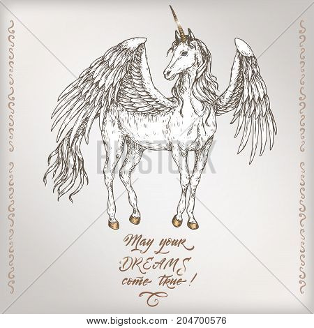 Romantic vintage birthday card template with calligraphy and winged unicorn sketch. Great for holiday design.
