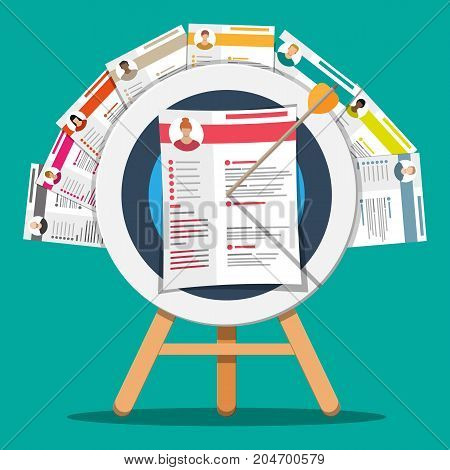 Cv resume documents pinned to target on wooden tripod. Human resources management concept, searching professional staff, work. Found right resume. Vector illustration in flat style