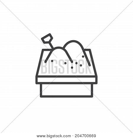 Sandbox line icon, outline vector sign, linear style pictogram isolated on white. Symbol, logo illustration. Editable stroke