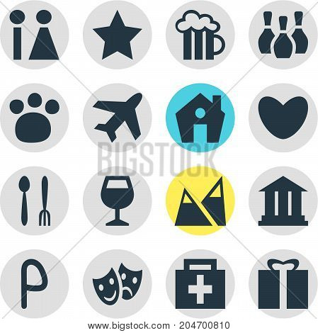 Editable Pack Of Toilet, Masks, Present And Other Elements.  Vector Illustration Of 16 Check-In Icons.
