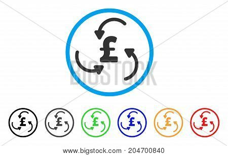 Pound Swirl rounded icon. Style is a flat pound swirl grey symbol inside light blue circle with black, gray, green, blue, red, orange color versions. Vector designed for web and software interfaces.