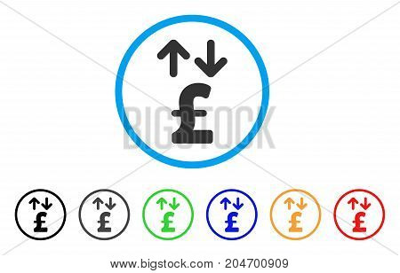 Pound Transactions rounded icon. Style is a flat pound transactions grey symbol inside light blue circle with black, gray, green, blue, red, orange versions.