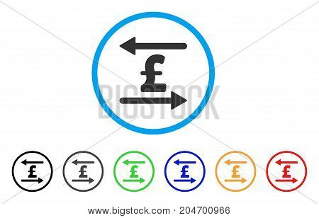 Pound Transactions rounded icon. Style is a flat pound transactions gray symbol inside light blue circle with black, gray, green, blue, red, orange color versions.