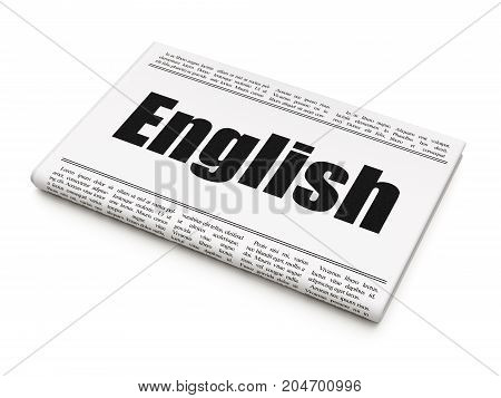 Education concept: newspaper headline English on White background, 3D rendering