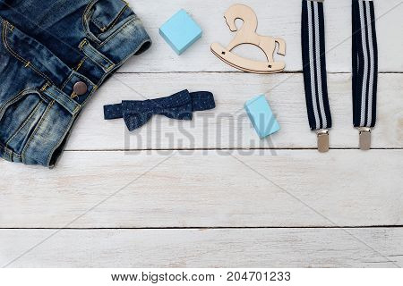 Clothing and accessories of blue for the boy. Mock up