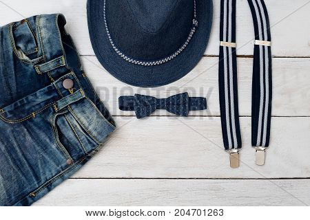 Kids fashion. Clothing and accessories of blue for the boy