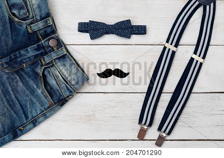 Accessories and clothes for a little gentleman. Kids fashion.