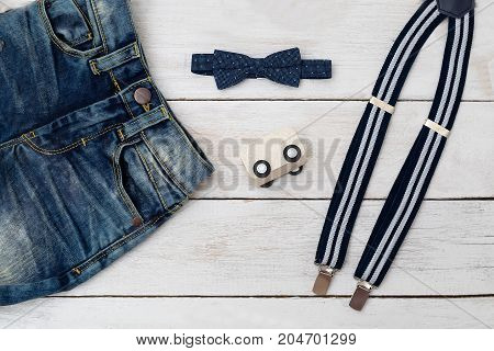 Clothes for little boy dark blue color. Accessories for a little gentleman