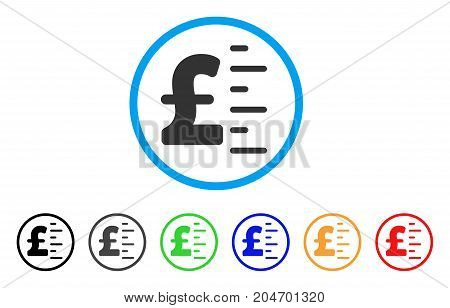 Pound Value rounded icon. Style is a flat pound value grey symbol inside light blue circle with black, gray, green, blue, red, orange versions. Vector designed for web and software interfaces.
