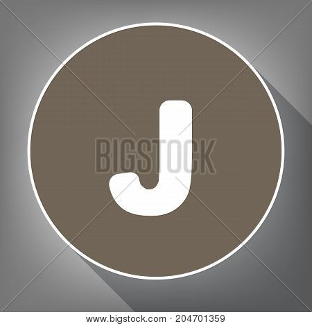 Letter J sign design template element. Vector. White icon on brown circle with white contour and long shadow at gray background. Like top view on postament.