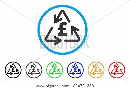 Recycling Pound Cost rounded icon. Style is a flat recycling pound cost gray symbol inside light blue circle with black, gray, green, blue, red, orange color versions.