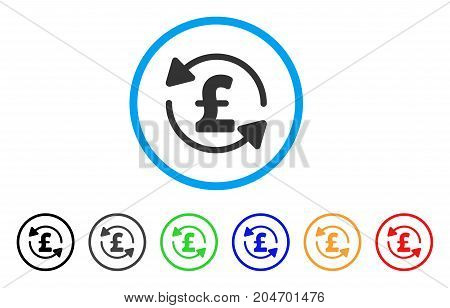 Refresh Pound Balance rounded icon. Style is a flat refresh pound balance grey symbol inside light blue circle with black, gray, green, blue, red, orange color versions.