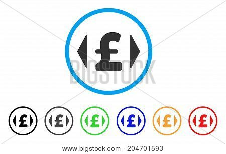 Regulate Pound Price rounded icon. Style is a flat regulate pound price grey symbol inside light blue circle with black, gray, green, blue, red, orange versions.