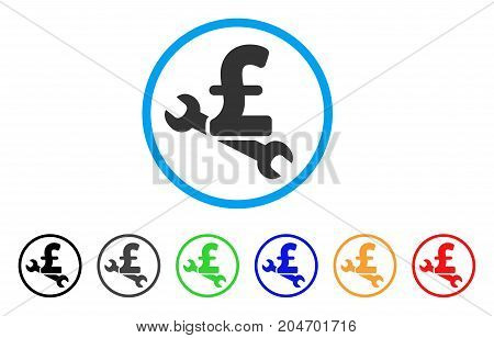 Repair Pound Price rounded icon. Style is a flat repair pound price grey symbol inside light blue circle with black, gray, green, blue, red, orange variants.